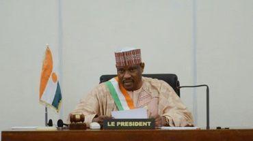 Le candidat de l'opposition, l'ancien Premier ministre Hama Amadou, aujourd'hui emprisonné, le 6 novembre 2013 à Niamey