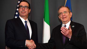 Steven Mnuchin, Secrétaire d'Etat au Trésor américain et Pier Carlo Padoan, ministre des Finances italien