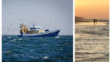 Bateau de pêche au large d'Ostende et plage d'Ostende (images d'illustration)