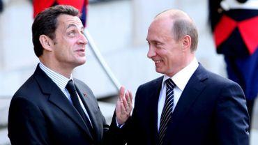 Nicolas Sarkozy accueille Vladimir Poutine à l'Elysée le 29 mai 2008.