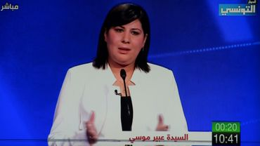 Capture d'écran de la candidate à la présidentielle tunisienne Abir Moussi lors d'un grand oral télévisé le 7 septembre 2019 à Tunis