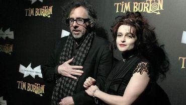 Tim Burton et Helena Bonham-Carter lors de l'inauguration à la Cinémathèque à Paris