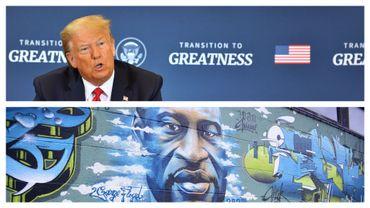 Donald Trump, ce 05 juin à Washington, et fresque en hommage à George Floyd