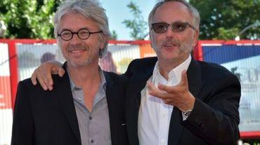 """Christian Vincent (g) et Fabrice Luchini arrive à la présentation du film """"L'Hermine"""" à la Mostra le 6 septembre 2015"""