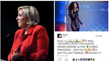 Cher s'en prend violemment à Marine Le Pen sur Twitter