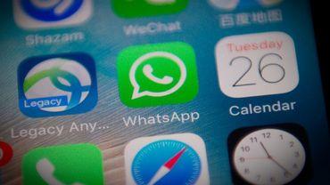 L'application WhatsApp sur l'écran d'un smartphone à Pékin le 26 septembre 2017
