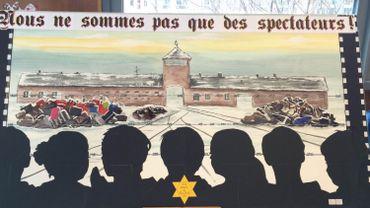La fresque réalisée par les élèves de l'enseignement primaire du Sacré-Coeur de Mons