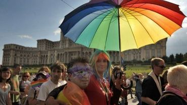 Manifestation d'homosexuels le 24 mai 2008 à Bucarest