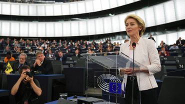 Newly elected European Commission President Ursula von der Leyen delivers a speech after a vote on her election at the European Parliament in Strasbourg, eastern France on July 16, 2019.