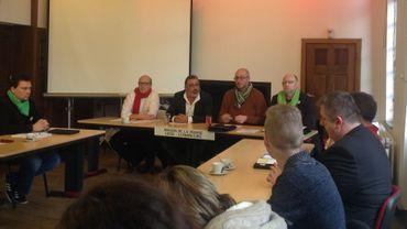 (de gauche à droite) Jean François Ramquet  et Francis Gomez(FGTB) , Gaetan Stas et Jean Marc Namotte (CSC)