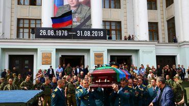 Le cercueil du dirigeant assassiné de la République autoproclamée de Donetsk, Alexandre Zakhartchenko, le 31 août 2018.