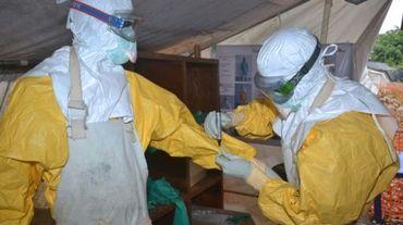 Des membres d'une équipe sanitaire en charge de la lutte contre le virus Ebola à Conakry, le 8 décembre 2014