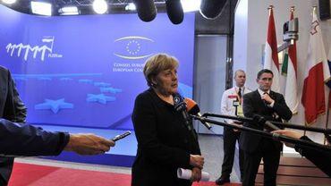 Angela Merkel au sommet européen de Bruxelles sur la crise de la dette