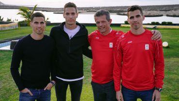 Jacques Borlée avec ses fils Kevin, Dylan et Jonathan