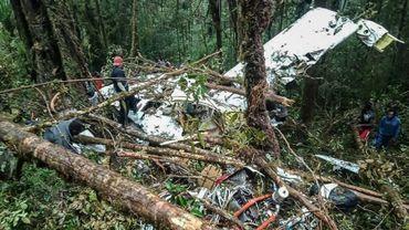 Photo fournie par les autorités de Papouasie le 12 août 2018 montrant les débris d'un avion qui s'est écrasé à Menuk, dans les montagnes d'Oksibil, en Indonésie