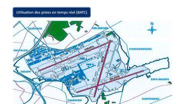 C'est la piste 25-R, la plus au nord, qui sera en travaux pendant six semaines, cet été. La piste transversale 01-19 sera davantage utilisée, ce qui entraînera plus de mouvements aériens au-dessus du Brabant wallon et de l'Est de Bruxelles