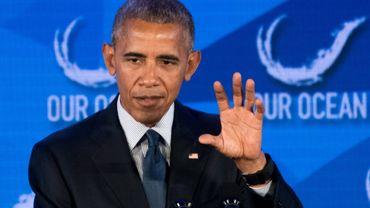 """Le président Barack Obama lors de son intervention au sommet """"2016 Our Ocean Conference"""", à Washington le 15 septembre 2016"""
