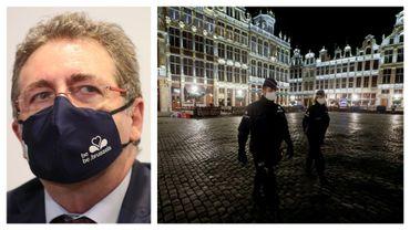 Rudi Vervoort en décembre 2020 et illustration du couvre-feu sur la Grand'Place de Bruxelles