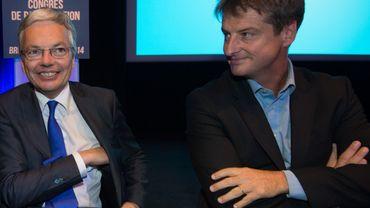 Didier Reynders au côté d'Olivier Chastel, lors du congrès de participation du MR