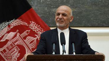 Le président afghan Ashraf Ghani lors d'une conférence de presse, le 9 juillet 2018 à Kaboul