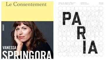 """Couvertures des livres """"Le Consentement"""" (Vanessa Springora) et """"Paria"""" (Richard Krawiec)"""