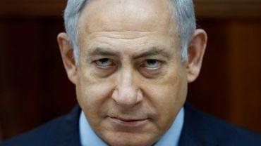 Photo du Premier ministre israélien Benjamin Netanyahu lors de la réunion hebdomadaire du gouvernement, le 25 mars 2018