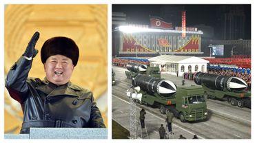 Kim Jong Un et parade au défilé militaire de Pyongyang, le 15 janvier 2021