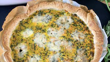 La Cuisine de Leslie - Quiche aux fanes de carottes et fromage bleu