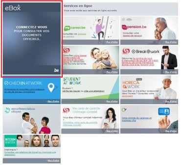 MyCareer, MyPension, Student At Work... autant de service déjà accessibles en ligne, auxquels viendra s'ajouter la eBox (ici encadrée en rouge) ce 4 octobre.