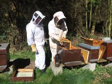 Le pâtissier Ducobu avec l'apiculteur chez qui il se procure son miel pour fabriquer la méliféra, une délicieuse praline