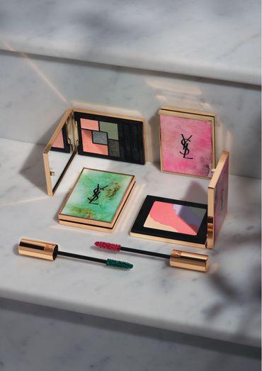 """Les deux palettes collector - Couture Palette et Face Palette - de la collection """"Boho Stones"""" d'Yves Saint Laurent, ainsi que les deux nouvelles teintes du """"Mascara Volume Effet Faux Cils""""."""
