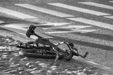 Crushed bike on the ground