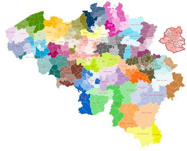 La carte actuelle des cantons judiciaires et des justices de paix.