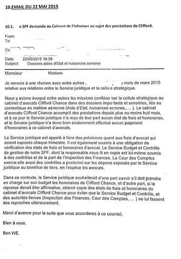 Première demande d'informations, en date du 22 mai