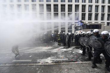 La police belge lors d'une manifestation à Bruxelles en septembre 2018 à Bruxelles