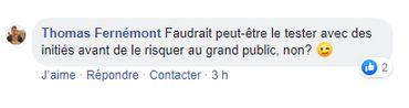 Réaction sur Facebook