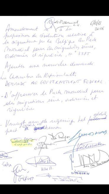 Voici l'amendement sur la proposition de résolution du pacte sur les migrations de l'ONU co-signé par la majorité alternative