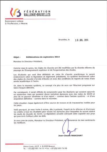 La lettre envoyée par Jean-Claude Marcourt aux directeurs d'établissements de l'enseignement supérieur.