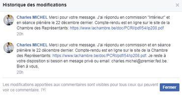 Une réponse à un internaute sur la page Facebook de Charles Michel. Le texte a été modifié après publication.