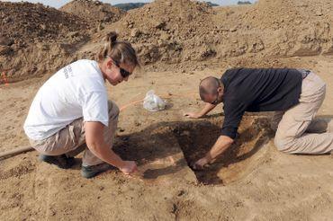 Chantier archéologique à Marquion (Pas-de-Calais) sur le site du futur canal, en 2009