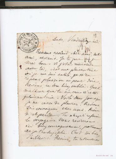Lettre d'Arthur Rimbaud suppliant Paul Verlaine de revenir !