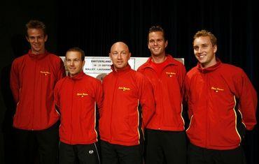Hulien Hoferlin et son équipe de Coupe Davis : Vliegen, Rochus, Malisse et Darcis