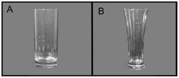 Verre à bords droits (A) et verre à bords arrondis (B).