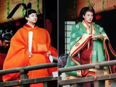 Le futur empereur Naruhito et son épouse Masako en habits traidtionnels