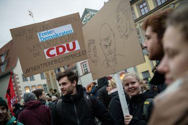 Manifestation contre le parti d'extrême droite AfD, le 6 janvier 2020 à Erfurt, en ex-RDA