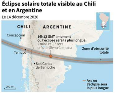 Carte de l'éclipse totale du soleil au Chili et en Argentine