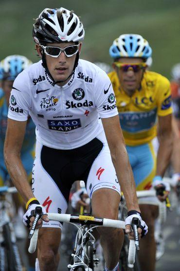 Andy Schleck, vainqueur du doublé maillot jaune et maillot blanc en 2010.