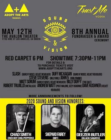 """Geezer Butler et Chad Smith honorés lors du concert annuel """"Adopt The Arts"""""""