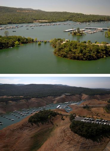 La Marina Bidwell du Lac d'Oroville le 20 juillet 2011 et le 19 août 2014.