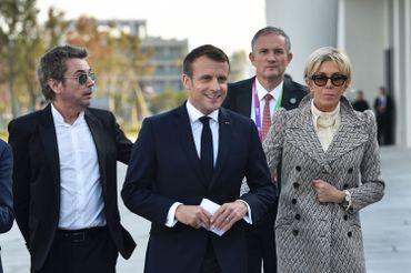 Le couple Macron et Jean-Michel Jarre, à Shangaï, ce 05 novembre